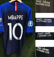 2020 Jogador desgastado Edição Mbappe Grisezmann Pogba com Turquia Albanie Moldavie Andorre Detalhes Millot Shirt
