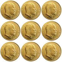 Великобритания редкие весь набор 1902-1910 9 шт. британская монета король Эдуард VII 1 суверенный Мэтт 24-K позолоченные копии монет Бесплатная доставка