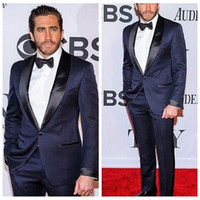 Dark Navy Celebrity Men Suits With Black Lapel Fit One Butto...