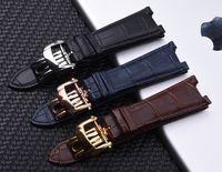 25mm Preto À Prova D 'Água Genuíno couro Watch Band Strap Dobre Fivela Homem Watchband Strap para PP Assista Nautilus
