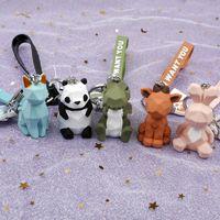 Cute Cartoon Key Anelli 3D Keychains creativo Geometrico sfaccettato Dinosauro Panda Rabbit Cat Res Animal Doll Coppia auto portachiavi portachiavi catena borsa