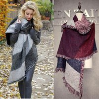 2019 bevel thickened plaid fringed scarf women winter warm t...