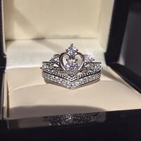스파클링 인도 탑 판매 lovely 훌륭한 쥬얼리 925 스털링 실버 크라운 반지 화이트 토파즈 CZ 다이아몬드 약속 여성 결혼식 신부 반지 선물