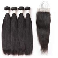 Gerade Haar 4bundles 8-28 Zoll Remy Human Hair 9A Lose Welle Tiefes lockiges Körperwellen Gerade Farbe 1b Schwarze Haare Bündel mit Schließung