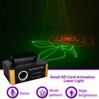 미니 500MW RGB 애니메이션 패턴 SD 카드 DMX 레이저 프로젝터 빛 DJ 쇼 공연 파티 무대 조명 효과 (선물 iShow 소프트웨어) SD-RGB500