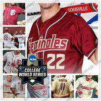 Пользовательские штат Флорида Seminoles FSU 2019 CWS Бейсбол Любое имя Номер Белый Красный Крем 22 Дрю Мендоса 8 JC Цветы Мужчины Молодежный Джерси