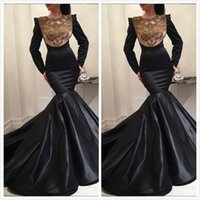 Black Mermaid Crystals 2019 Arabic Evening Dresses Long Slee...