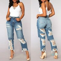 Women High Waist Skinny Hole Jeans Women Denim Pants Destroy...