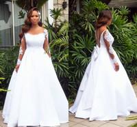 2019 африканских кружева с длинными рукавами аппликация-Line свадебное платье винтаж плюс размер саудовско-арабский свадебное платье с открытой спиной