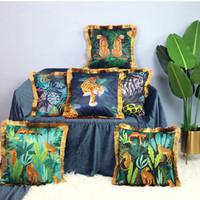 tropikal orman dekorasyon hayvan leopar cojines püskül kanepe kanepe şezlong atmak yastık kılıfı ipek kaplan yastık kılıfı