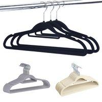 No Trace Flocking Hanger Нескользящая вешалка для одежды Пластиковые вешалки для брюк Вешалки для брюк Ветрозащитная вешалка для одежды Вешалка для дома DBC VT0403