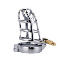 Dispositivo de cinturón de castidad masculina de acero inoxidable Hombres vendaje castidad pene jaula pene anillo de bloqueo jaula basm juguetes sexuales con 40mm / 45mm / 50mm anillo