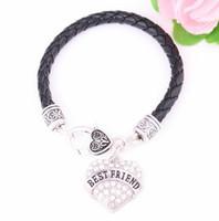 ييوو Huilin المجوهرات حار بيع بالجملة عائلة المنتج ابنة أفضل صديق سوار جلد القلب شعبية الكريستال