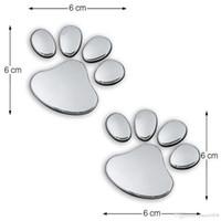 زوج ملصق سيارة بارد تصميم باو 3D الكلب الحيوان القط الدب القدم يطبع بصمة 3M ملصق سيارة ملصقات الذهب والفضة