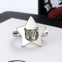 Высокое качество Горячий продавая Посеребренная кольцо для девушек Pentagram Cat Head Ring Личность Trend Кольцо ювелирных изделий способа питания