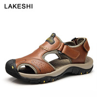Sandalias para hombre de cuero genuino verano 2018 nuevos zapatos de playa hombres zapatos casuales zapatos masculinos al aire libre más el tamaño 38-46