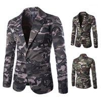 Günlük Uzun Kollu Tek Düğme Suit Erkek Blazers Tasarımcı Erkek Kamuflaj Blazers Moda Yaka Boyun Baskılı ceket mens