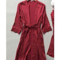 Sexy женщин Robe платье наборы Lace Халат + Ночь платье пижамы женщин сна Одежда Faux Silk Robe Femme белье