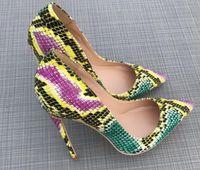 Pele de cobra Sapatos individuais Cúspide Salto fino Sapatos de salto alto das mulheres 8cm 10cm 12cm Big code 44 noiva banquete Casamento boate Sapatos de fundo vermelho