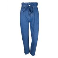 Donne Ins caldo di vendita dei jeans a vita alta Street Fashion Capris Skinny pantaloni della matita jeans femminili Belt