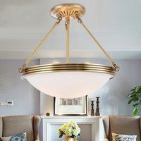 Lâmpadas de candelabro de cobre redondas Simples Europeu sala de jantar quarto lâmpada de teto americano cozinha chinês led luzes