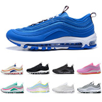 Nike Air Max 97  Zapatillas de running Mustard 97s Chaussures SE South Beach Pull Tab Triple Negro Blanco Hombre Mujeres Entrenador Air Designer Sports Sneakers 36-46