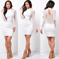 패션 섹시 새로 여성 이브닝 드레스 여름 드레스 긴 소매 레이스 O - 넥 칼집 블랙 하이 허리 미니 드레스
