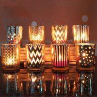 Titulares Mosaico de vidro vela votiva Tealight Titular Estrela romântico para casamento partido Home Decor
