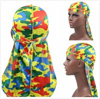 9 colori Unisex Durags maschile Bandana cappello turbante Camouflage Stampato Tappo pirata a coda lunga Cappuccio Capelli Accessori per capelli