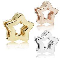 2018 neue Reflexionen Stern Clip Charme 100% 925 Sterling Silber Perlen Fit Pandora Reflections Armband Halskette Geschenk DIY Schmuck