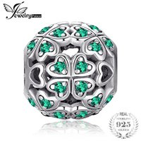 JewelryPalace 925 Sterling Silver Lucky Flora rotonda verde cubico zirconi Four Leaf Clover cuore Charm Beads misura i braccialetti regali
