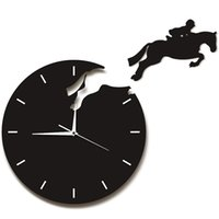 Horloges murales Art Décor Cavalier Jumping Montre Jumping Cavalier à cheval Design Horloge 3D Equitation