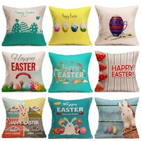 Easter Pillow Covers Linen Square Throw Pillow Case Simple D...