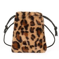 New Fashion Ladies Leopard Drawstring Bag Personality Diagon...