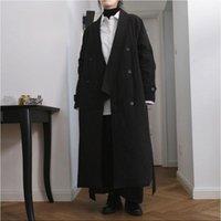 Kadın Aşağı Parkas Kış Japon Tasarım Koyu Rüzgar Pamuk Ceket V Yaka Kravat Geniş Gevşek Siluet Kalın Uzun Ceket Kadınlar