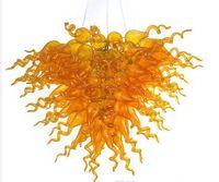 Lâmpada bonito design vidro âmbar led candelabro arte decoração pingente lâmpadas de energia poupança luz fonte moderna cristal candelabros