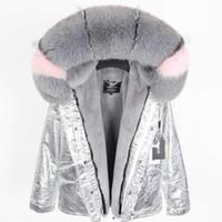 2019 Lavish cinza pele de raposa guarnição Threshold maomaokong marca forro de pele de coelho rosa mini-jaquetas rosa neve parka