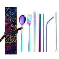 Couverts en acier inoxydable Sets Chopsticks Cuiller Couteau Straws Brosse de nettoyage Set réutilisables de vaisselle jus d'été Ensembles thé de lait Pailles