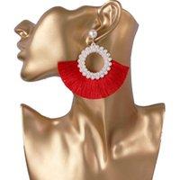 GJJ349 joyas pendiente rojo Negro perla de la borla pendientes para las mujeres de Bohemia forman a 8 colores de la Mujer geométrica Kolczyki gota pendientes