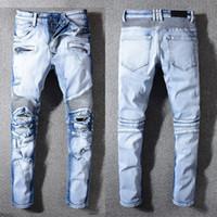 19SS FASHION CASUAL BRAND HERREN DESIGN CASUAL BLUE SLIM Design falten JEANS HERREN MOTO LOCH JEANS HOSEN 29-42