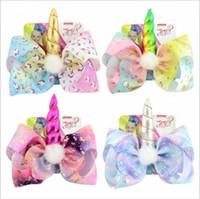 JOJO Bebé Niñas unicornio arcos de pelo Clips Rainbow Star Loving Horse Clip de pelo suministros para la fiesta Barrettes niños cosplay Accesorios para el cabello
