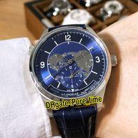 Новый Master Control Master Geographic Dual Time Zone 1428530 Синий Циферблат Автоматические Мужские Часы Стальной Корпус Синий Кожаный Ремешок Часы Pure_Time