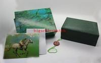 reloj de lujo libre del Mens por un reloj Rolex original de la caja interior exterior Womans Relojes Cajas de reloj de los hombres verdes de cartón caja de folleto