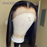 Transparent Lace Front Humen Hair Wig Short Straight Bob Hai...