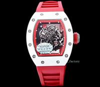 KV «Чистый красный взрыв» RM055 белая керамическая серия сапфировое стекло зеркало механические мужские спортивные часы лучший подарок на Рождество