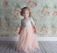 Blush Pink Two Pieces Lace Flower Girl Dresses for Wedding C...