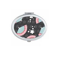 Japan Kultur niedlich schwarz blau rosa weiß fans sakura flecken wiederholen totem illustration muster oval kompakte make-up taschenspiegel tragbare niedlich