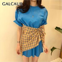 GALCAUR Casual Hit Color Women Dress O Neck Short Sleeve Hig...