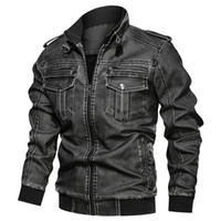 Motorcycle Leather Jacket Men PU Washed Motorcycle Jackets P...