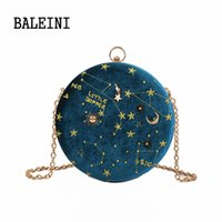Starry sky Circular Fashion Wool Women Shoulder Bag Leather ...